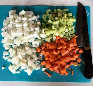 Mirepoix - 50% onion, 25% each carrot and celery