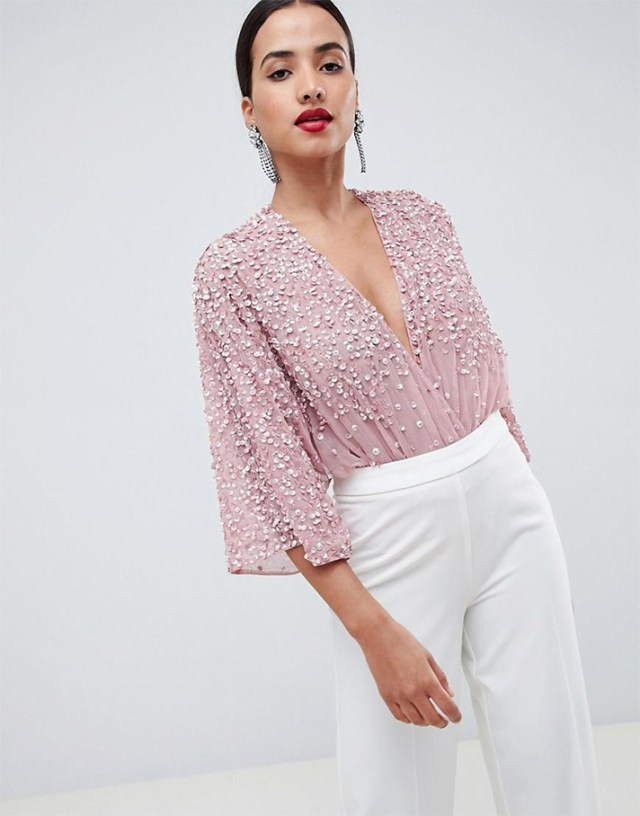 STYLECASTER | Going Out Tops | ASOS DESIGN Tall body in sequin embellishment with plunge wrap and kimono sleeve
