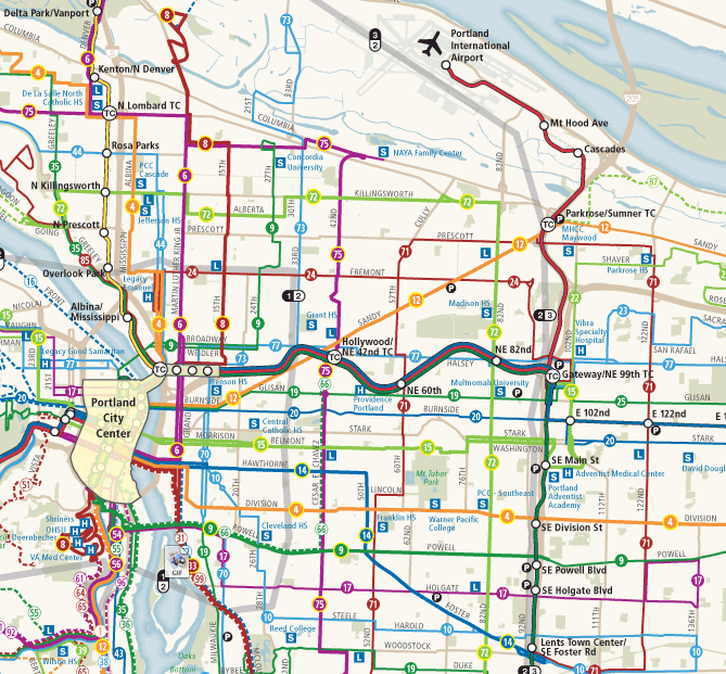 Portland Bus Grid. Image via Human Transit