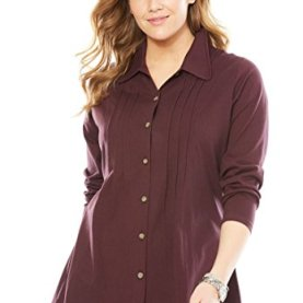 Plus Size Pleated Button-Front Tunic