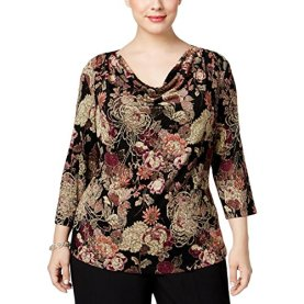 Plus Floral Print Draped Neck Blouse