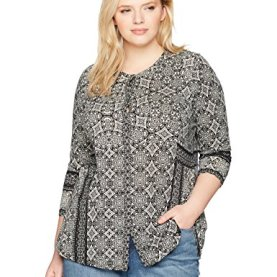 Plus Size Geo Print Button Top