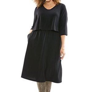 Layered-Look A-Line Dress Black