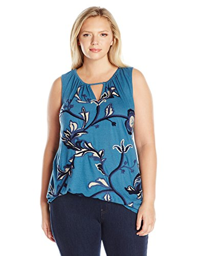 Plus-Size Embroidered Tank Top