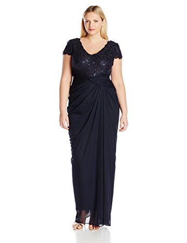 Sequin and Lace Bodice Draped Gown