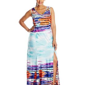 Sleeveless Printed Maxi Dress V-Neck