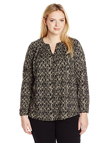 Women's Plus-Size Ikat Peasant Top
