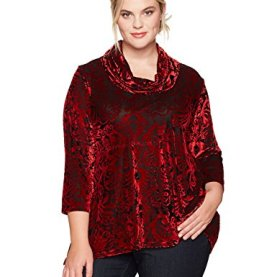 Cowl-Neck Ikat Burnout Velvet Top