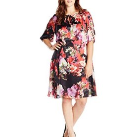 Drawstring Neck Blouson Floral Dress