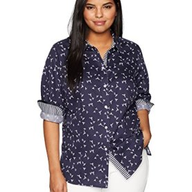 Plus Size Print Wrinkle Free Shirt