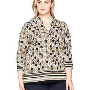 Funnel-Neck Printed Cotton Knit Top