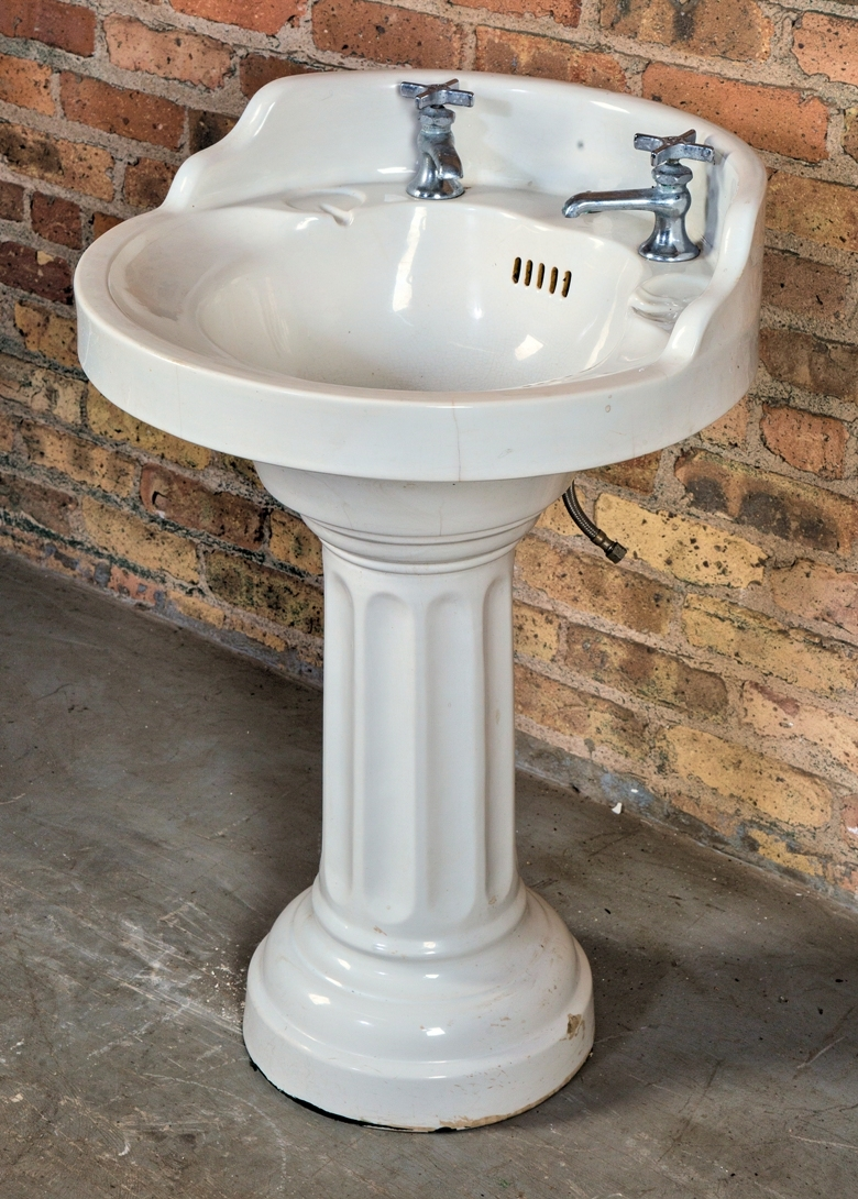 impressive all original and intact early 20th century white vitreous china two part interior residential lavatory sink with deep and compact bowl and