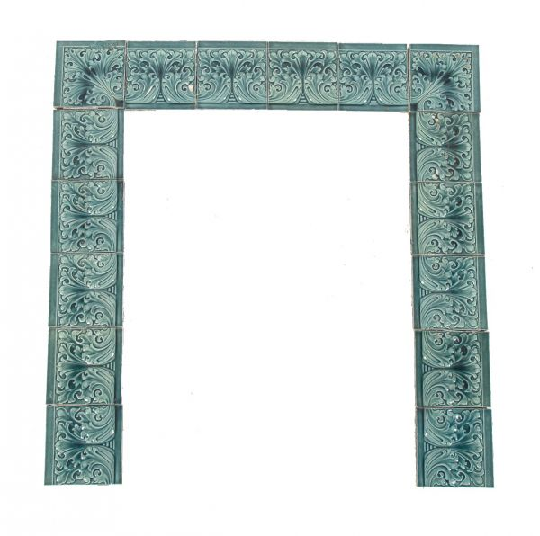 striking all original 19th century antique american uniquely shaped richly colored blue majolica tile fireplace surround