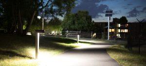 SLL Bollard Series at night at Magnolia Manor Park, Seattle, WA.