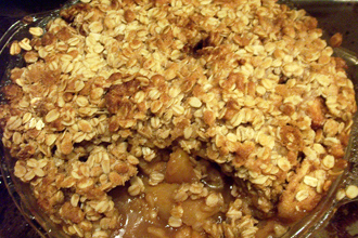 Sweet caramel apple crumble