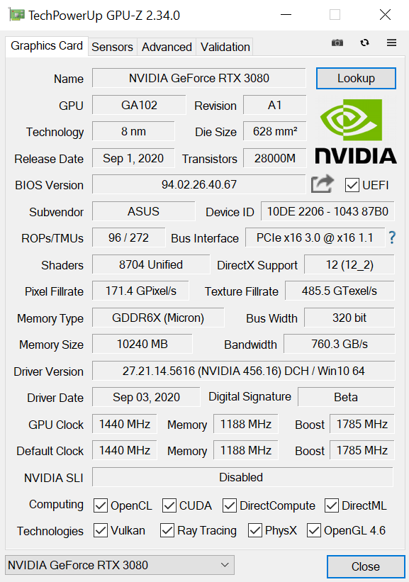 ASUS TUF Gaming GeForce RTX 3080 OC Specs