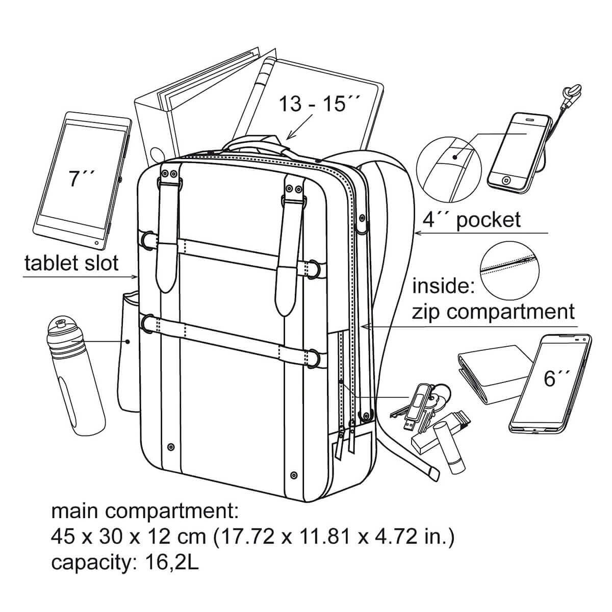 Laptop Backpack With 13 15 Computer Compartment Amp 7