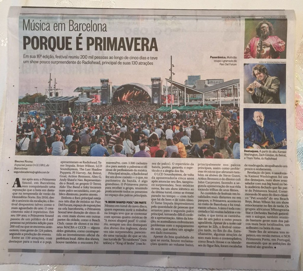 O Globo - Brasil - Primavera Sound 2016