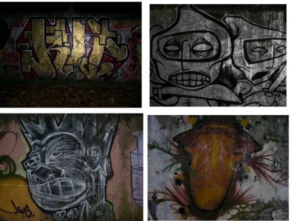 Grafitis en la ribera del Arlanzón