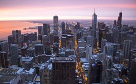 View of downtown Chicago at sunrise