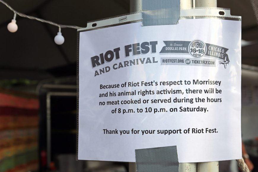 Picture of notice that no meat will be sold during Morrissey's set at Riot Fest Chicago 2016