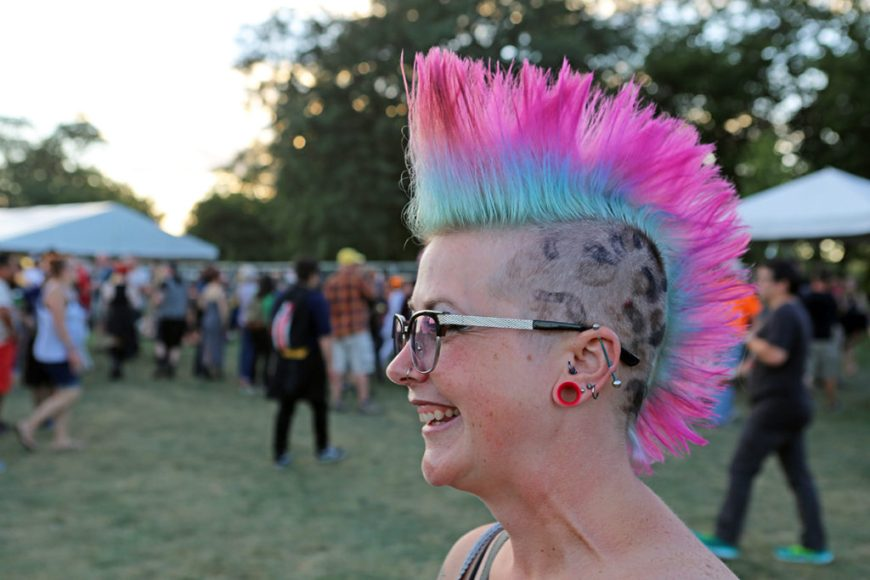 Picture of a Riot Fest Chicago attendee with a pink mohawk.