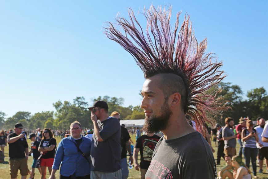 Picture of a Riot Fest Chicago attendee with a mohawk.