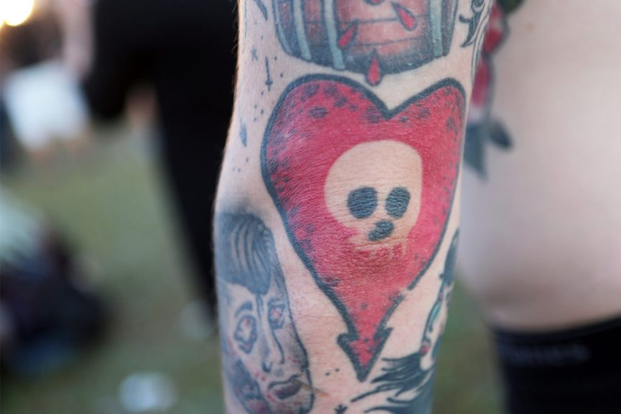 Picture of a fan's Alkaline Trio tattoo at Riot Fest 2016.