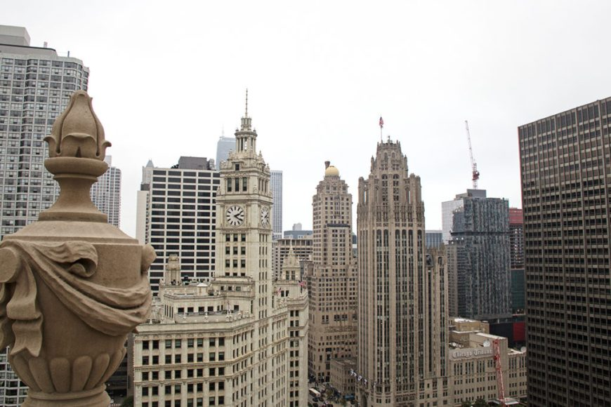 View of historic Chicago buildings from the LondonHouse hotel rooftop at Open House Chicago 2016