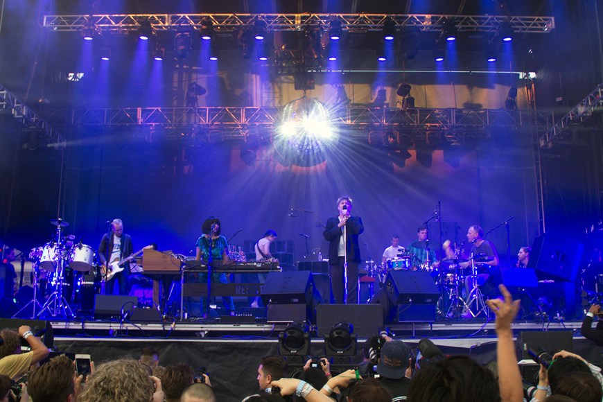 Image of LCD Soundsystem performing at Pitchfork