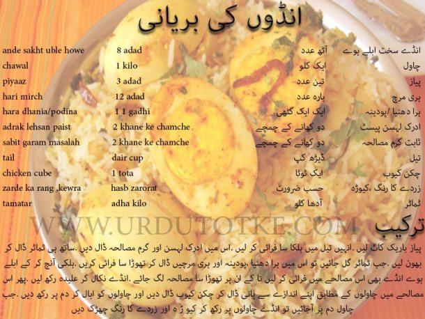 anday ki biryani recipe in urdu