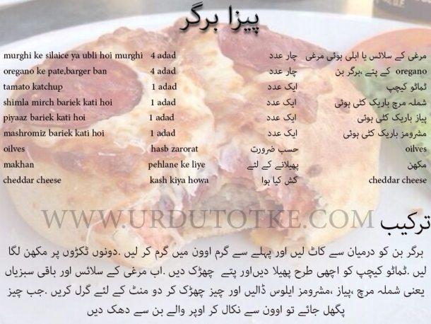 pizza burger recipe in urdu