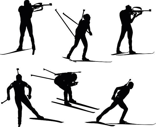 Biathlon silhouette set. Vector stock illustration for design