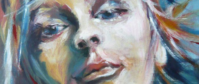 Acrylmalerei Dame Im Nebel Malerei 30x30 Bild Figur Acryl Frau