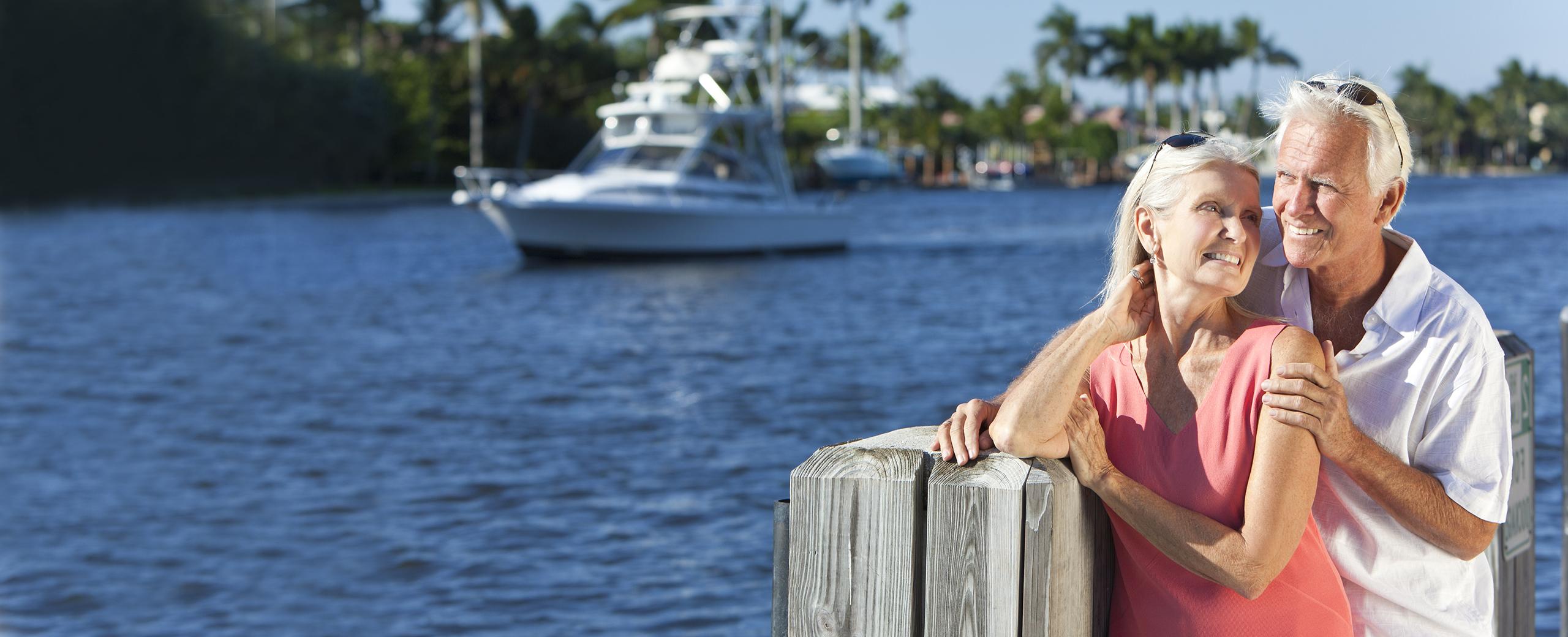 elderly couple on water