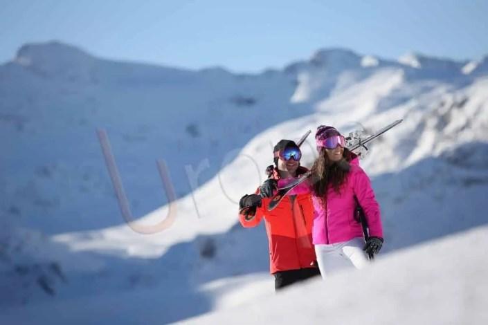 Prise de vue de Val d'Isère avec un couple
