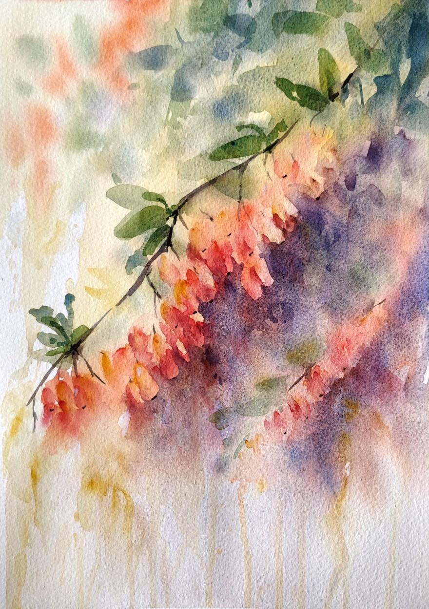 Fall berries in watercolor