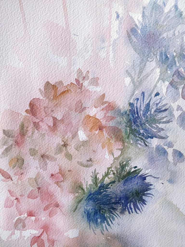 Hydrangea and thistle in watercolor