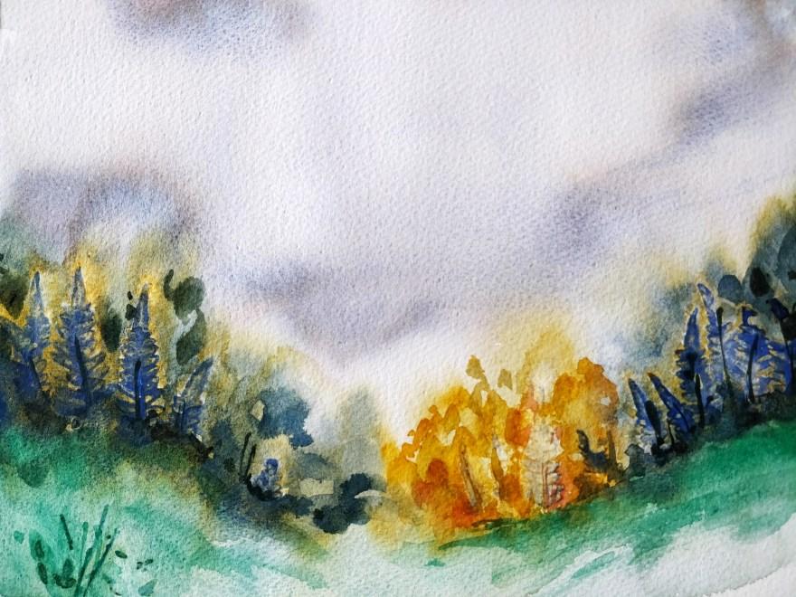 Fall landscape in watercolor