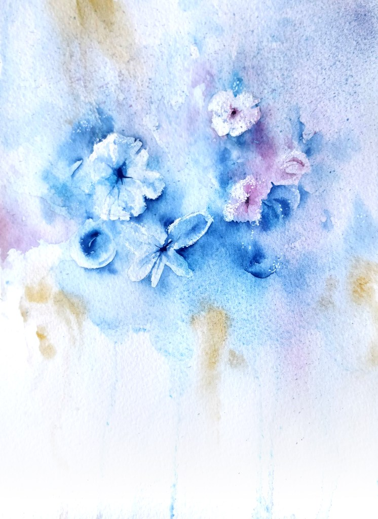 Frosted flowers in watercolor
