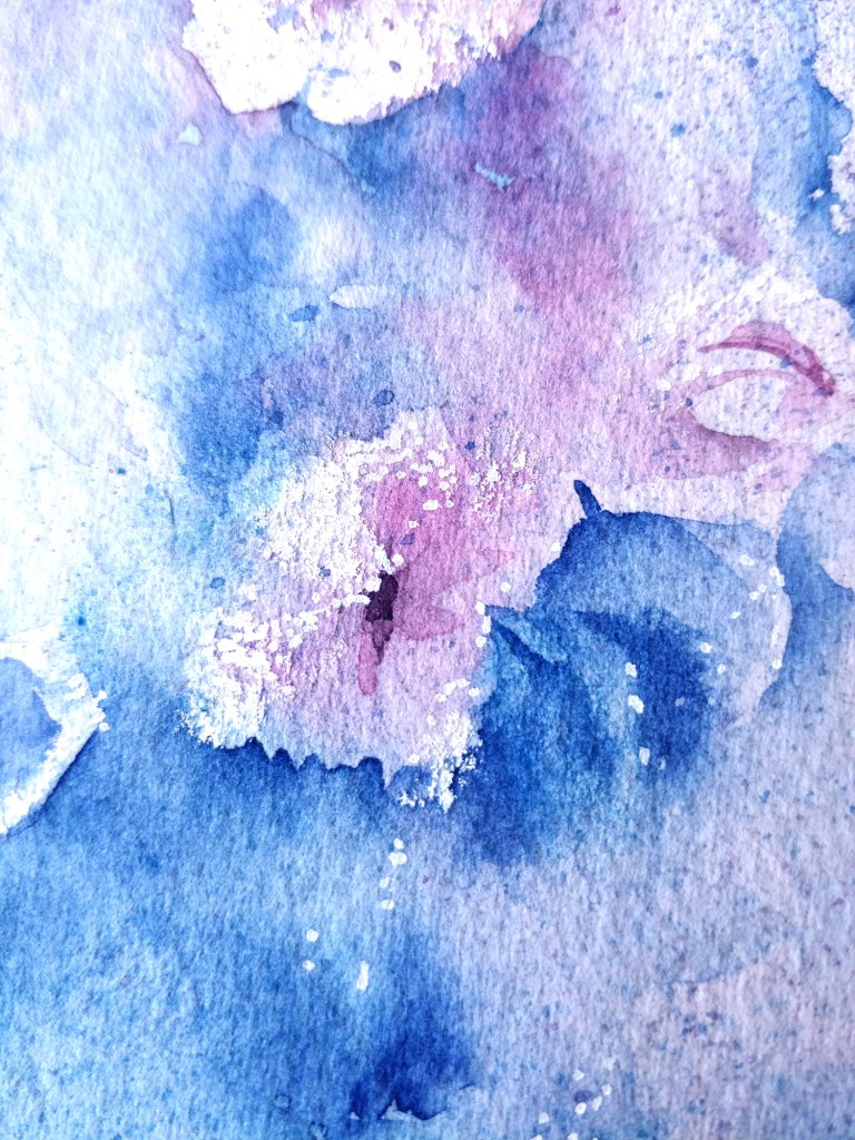 Frosted flowers in watercolor, detail