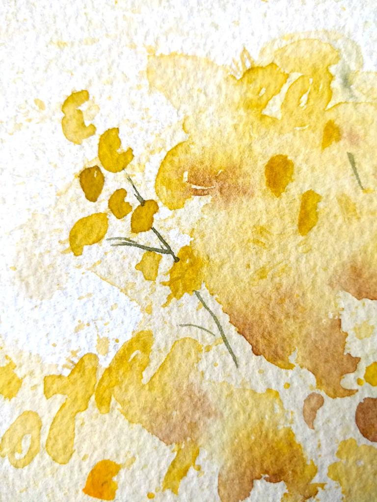 Mimosa à l'aquarelle, détail