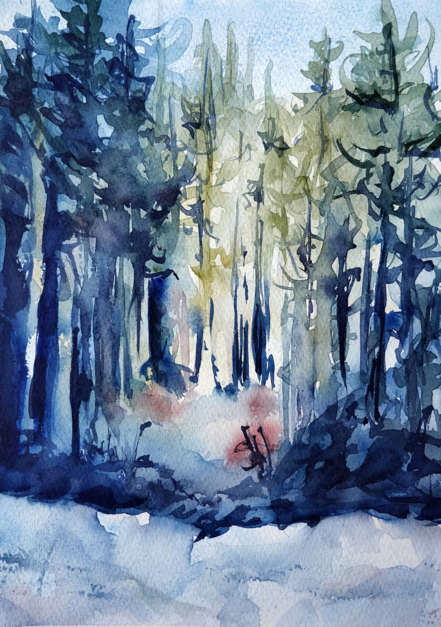 Winter forest in watercolor
