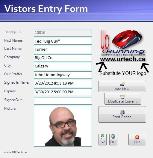 Free Visitor Management Software Data Entry Form