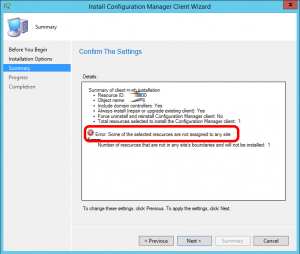 sccm-error-some-of-the-selected-resources-are-not-assigned-to-any-site