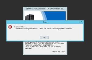 Unified Server Configurator Failure - Detach USC failure - Detaching a partition has failed
