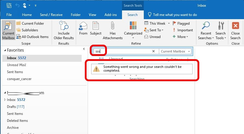 SOLVED: Outlook – Something Went Wrong And Your Search