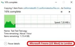 Azure data center speed test - Fresno California US West to London2