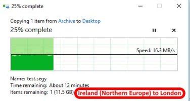 Azure data center speed test - Ireland Northern Europe to London2