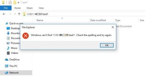 windows cant find unc path with IP check the spelling and try again